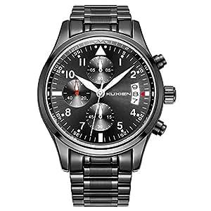 時計、腕時計、高級メンズクォーツステンレス腕時計ブラックカレンダーブラックウォッチバンドとメンズのためのブラックビジネス多機能時計防水腕時計