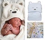 B's MAUMU 肌触り 抜群!! 赤ちゃん おくるみ ベビー フード 付き ブランケット & ガーゼ 3枚 セット 出産祝い (ブルー)