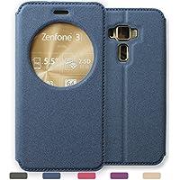 [LivelyLife]ZenFone 3 Deluxe ケース 手帳型 ゼンフォン 3 カバー ZS550KL(5.5インチ) 窓付き スタンド おしゃれ(ネイビー)