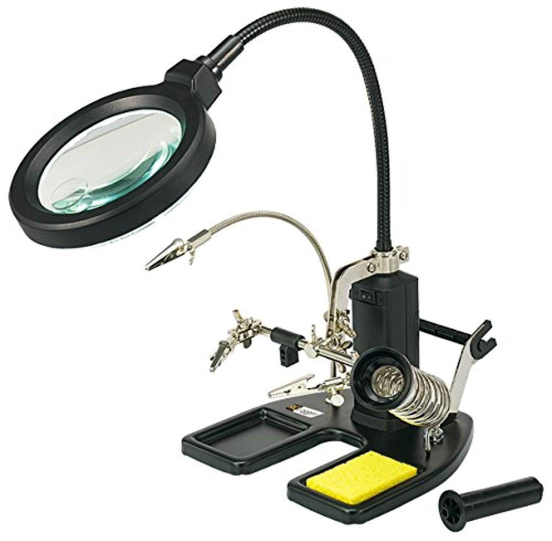 ハイテック アールシーロガー ワークステーション LEDライト付ダブルルーペ/ベンチクリップ/半田コテホルダー付 60004RC