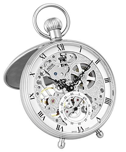 懐中時計 手巻き スモールセコンド ホワイト スケルトン ローマン 2166 2166R メンズ エポス