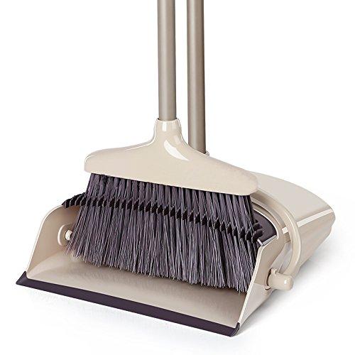 立つほうき 自立式 シンプルなグレー 手が汚れにくい ほうきとちりとりセット 屋外でも屋内でも 組み立て式で