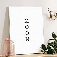 黒と白の抽象的な月反射油絵の風景の壁の装飾絵の家の絵画 (Size : M)