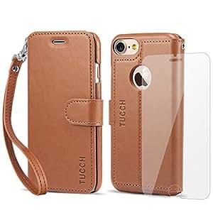 iPhone 7ケース 手帳型 iPhone 7 ケース TUCCH【永久保証】PUレザーケース 強化ガラスフィルム ストラップ カード収納 スタンド マグネット アイフォン7 用 財布型 カバー ブラウン