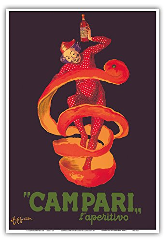 カンパリアペリティフ - オレンジピールに包まピエロ - ビンテージな広告ポスター によって作成された レオネット・カピエッロ c.1921 - アートポスター - 33cm x 48cm