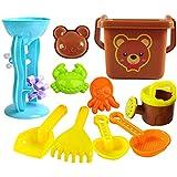 キッズビーチ砂のおもちゃセットモデル、バケツ付きビーチペールセット、シャベル、熊手、砂時計、サンドボックスビークル、砂型、幼児のためのベスト玩具屋外プレイ男の子と女の子(1メッシュバッグを含む),hourglassset