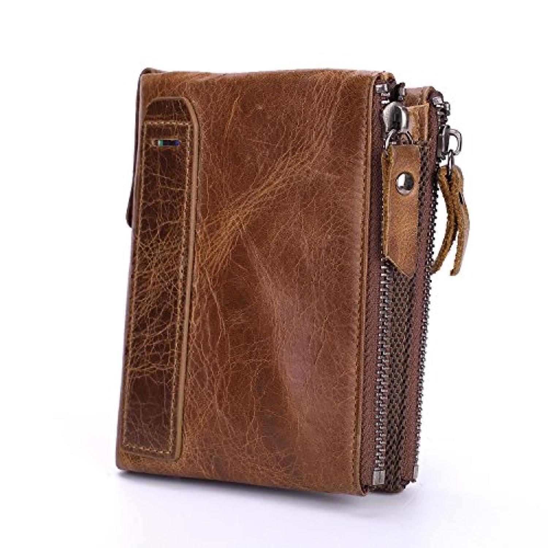 財布 メンズウォレット ダブルジッパー レザーバッグ おしゃれな トップカウハイド ショートウォレット ヴィンテージ