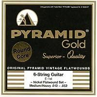 PYRAMID Gold Chrome Nickel Flatwounds On Round Core Medium(12-52) ピラミッド エレキギター弦【国内正規品】
