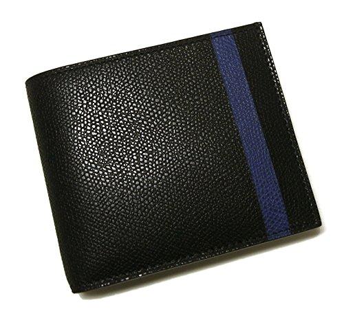 [ヴァレクストラ]Valextra 財布 二つ折 ラインデザイン(ブラック+ブルー) VX-191 [並行輸入品]