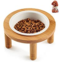 Petacc 猫 食器 木製 スタンド 小型犬 えさ皿 食事 猫用フード 水 陶器 ボウル