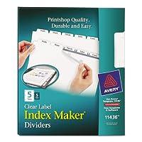 Avery–インデックスメーカークリアラベルディバイダー、5-tab、手紙、ホワイト、5セット/パック11436( DMI PK