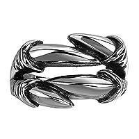 Rockyu ブランド メンズ レディース リングステンレス アイティーク 指輪 ドクロ ブラック リング