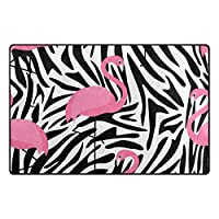 "My Daily Flamingo Zebra Stripesエリアラグ3' 3"" x 5'、リビングルームベッドルーム台所装飾軽量Foam Printed Rug 20"" x 31"""