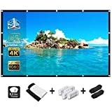 Alopex 120 Inch Projector Screen,16:9 HD 4K Video Movie Screen Grommets No Crease Portable for Indoor Outdoor Home Theater, S