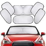 【6枚セット】車用サンシェード 全窓カバー PEYOU プライバシーサンシェード 遮光率99%&UVカット 収納袋&吸盤付き 日よけ用品