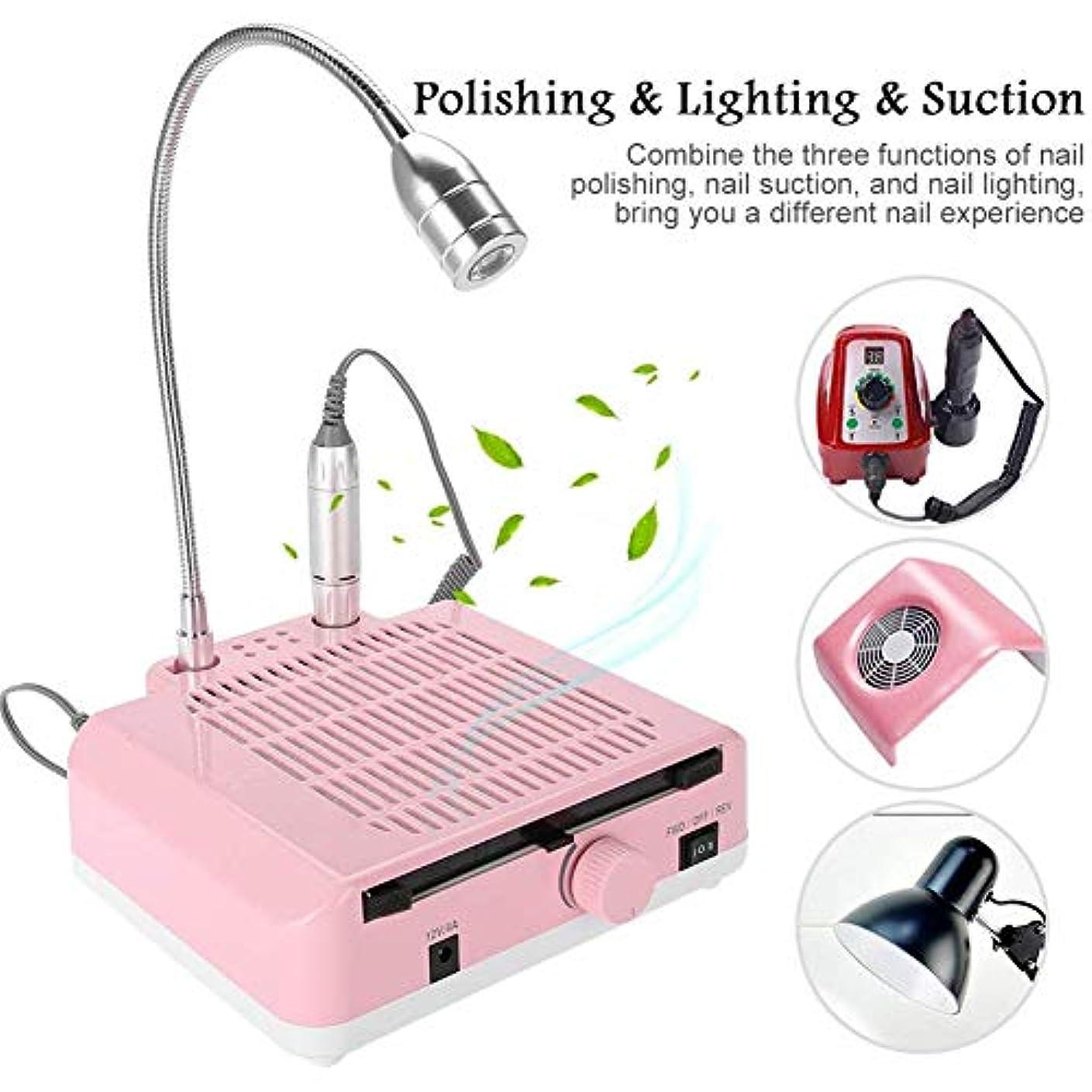 ハンディキャップ知性フィット3-in-1 60WネイルダストコレクターダストコレクターマシンとネイルグラインドポリッシュサクションエクストラクタとLEDライトネイルアートマニキュアツール(ピンク)