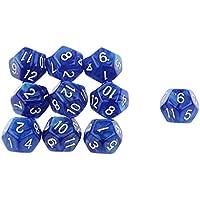 【ノーブランド品】 アクリル製 10個 不透明 八色選ぶ サイコロ 12 面  ゲーム - 青
