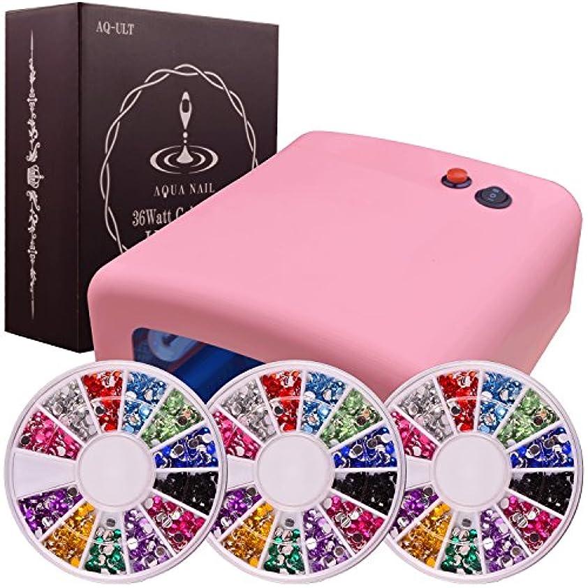 すずめ差別的意図するUVライト 36W (ベビーピンク) ネイル レジン アクリルストーン 12色3サイズセット 本体+電球4本付 安心3ヶ月保証 日本語説明書付AQUA NAIL(ピンク)
