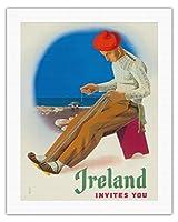 アイルランドは、あなたを招待 - アイルランド人ウィービングベルト - ビンテージな世界旅行のポスター によって作成された フース・メライ c.1955 - キャンバスアート - 51cm x 66cm キャンバスアート(ロール)