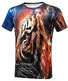 Pizoff(ピゾフ) メンズ 半袖Tシャツ 虎柄 3D プリント おもしろ トップスY1800-18-L