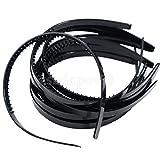 10個入り10mmブラック/ホワイトスリムプラスチックアリスのヘッドバンド歯DIYヘアCraft