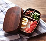 JTlife 手作り和式木製弁当箱 便利な仕切り 寿司箱 おかず箱 四角曲げわっぱ一段弁当箱 漆塗り (シュロレッド)