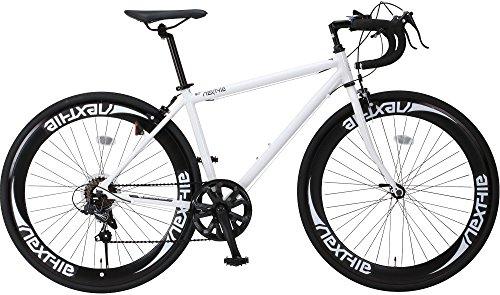 NEXTYLE(ネクスタイル) SHIMANO(シマノ) ロードバイク ロードレーサー 男女兼用(初心者対応 身長160cm以上 サイズ440mm) 7段変速 RNX-7007(ホワイト)