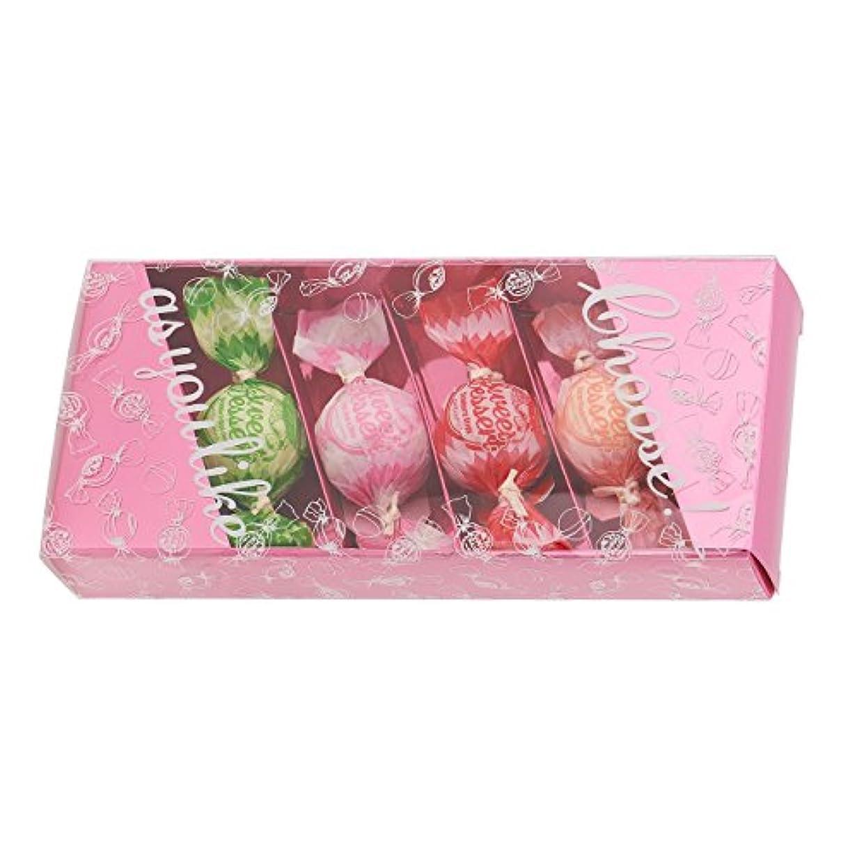 帽子渇きぴかぴかアマイワナ バスキャンディー4粒ギフトセット(35g×4個) ピンク(発泡タイプ入浴料 バスギフト)