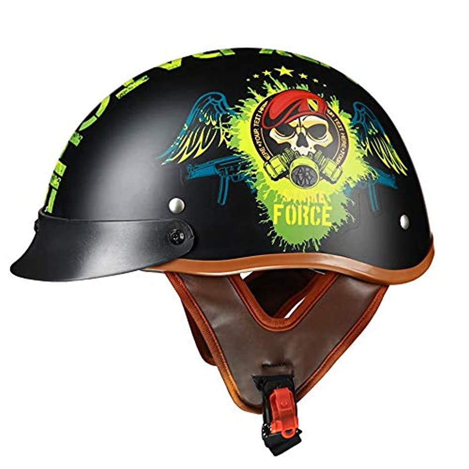 間隔ハードわかるHYH レトロ機関車ヘルメット電気自動車オートバイハーフヘルメットライト安全人格無料四季ユニバーサル いい人生 (Size : L)