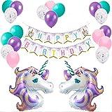 ユニコーンバルーン 誕生日パーティー用品 ユニコーン誕生日パーティーバナーとバルーンキットセット ユニコーンハッピーバースデーデコレーション ユニコーンコンフェッティ ピンク パープル ターコイズバルーン