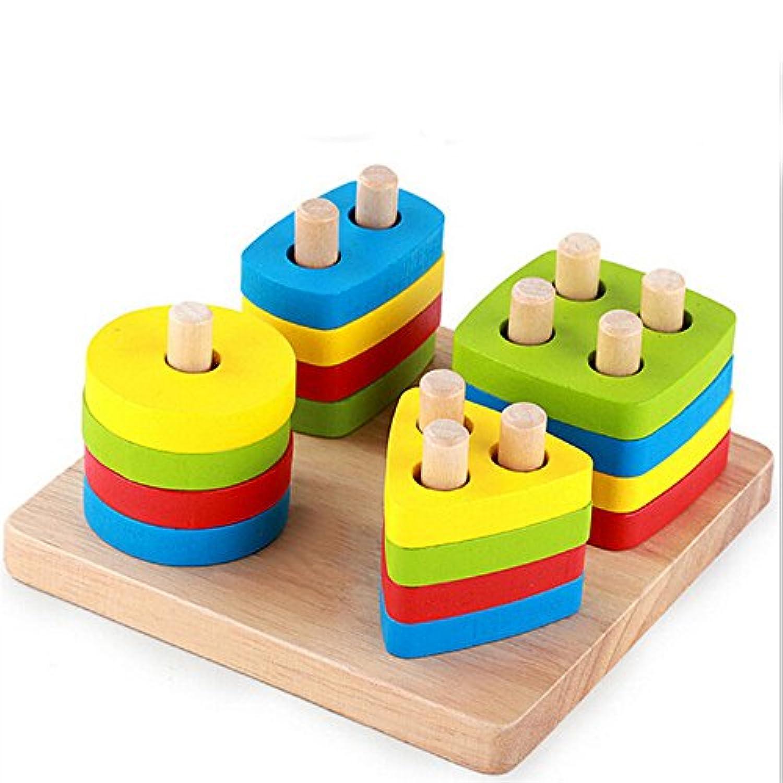木製ブロック学習形状幾何Fineモータースキルおもちゃ教育Kid