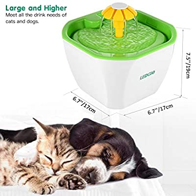 LEDGLE Ultra-Quiet Pet Drinking Fountain 2L Cat Water Dispenser Practical Dog Water Fountain with Auto-Off Protection 3 Filters Included
