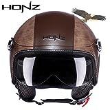crocs X.N.S(希望)バイクヘルメット HONZ-OP01 ヘルメット ジェット パイロット (M, Croc 棕)