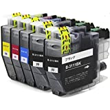 ブラザー LC3111 インク 黒 2本 顔料 4PK + BK 5本セット 機種 DCP-J982N-B W DCP-J978N-B W DCP-J973N DCP-J972N DCP-J582N DCP-J577N DCP-J572N MFC-J