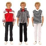 「Barwawa」 バービー ケン用 バービー人形 手作り  ケンドール用服 バービーボーイフレンド 1/6ドール用 服  男 バービーケン着せ替え ケン用Tシャツ 3枚セット