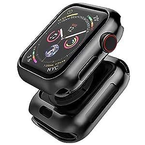Apple watch 4 44mm ケース TopACE メッキ加工 メタリックな色 クリア TPU ソフトケース 落下防止 Apple watch series 4 44mm 対応(ブラック)