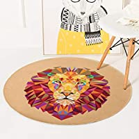 保育園ラブリー動物ラウンド敷物ウサギキツネクマ猫鹿ライオンウルフパターンサークルカーペット子供マット タイルカーペットQFLY (Color : Lion, Size : Diameter:3'3''(100cm))