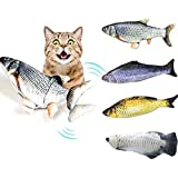 Cat Kicker Fish Toy - Flopping Fish Cat Toy - Cat Wagging Fish Realistic Plush Simulation Electric Doll Fish Plush Toy Interactive Pets Pillow Chew Bite Supplies for Cat/Kitty/Kitten Fish Flop (B)