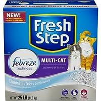 フレッシュステップmulti-cat with Febreze Freshness、Clumping Cat Litter、香りつき 25 Pounds - Pack 3