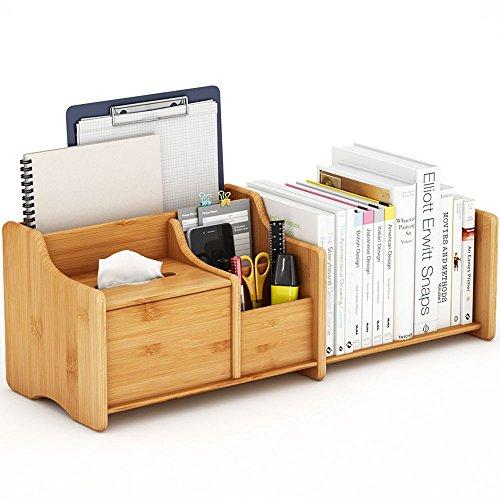 Tribesigns デスク上 収納 木製 卓上収納ボックス 小物入れ 卓上収納 デスク上置き棚 多機能 竹製 デスクオーガナイザー 本立て ペン立て 書類ケース 伸縮自由 組立不要 木目調