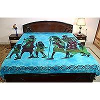 Sarjana Handicrafts Indian KingサイズコットンボックスベッドシートAfricanファミリベッドスプレッド寝具 approx. 88 Inches (223 cm) x 83 Inches (211 cm) ブルー