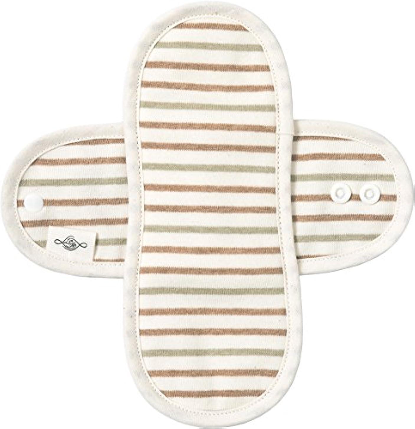 発生器アンプパン屋Lintenオーガニックコットン布ナプキン Mサイズ羽付きタイプ 普通の日用 防水布入り (マルチボーダー)