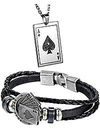 Aroncent メンズ ブレスレットレザー メンズ ネックレス ステンレス(2点セット)スペード 革 首輪 腕輪 ブラックメンズ パック ファション アクセサリー