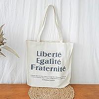 Student Tote Bag, Canvas Liberateion Printed Shoulder Bag Simple Light File Shopping Travel Handbag (Beige) Polykor