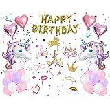 女の子 誕生日 パーティー 飾り セット ユニコーン ピンク パープル 可愛い 子供 装飾 キラキラ バスデークラウン フォトプロップス 小道具 ベビーシャワー デコレーション 37枚セット
