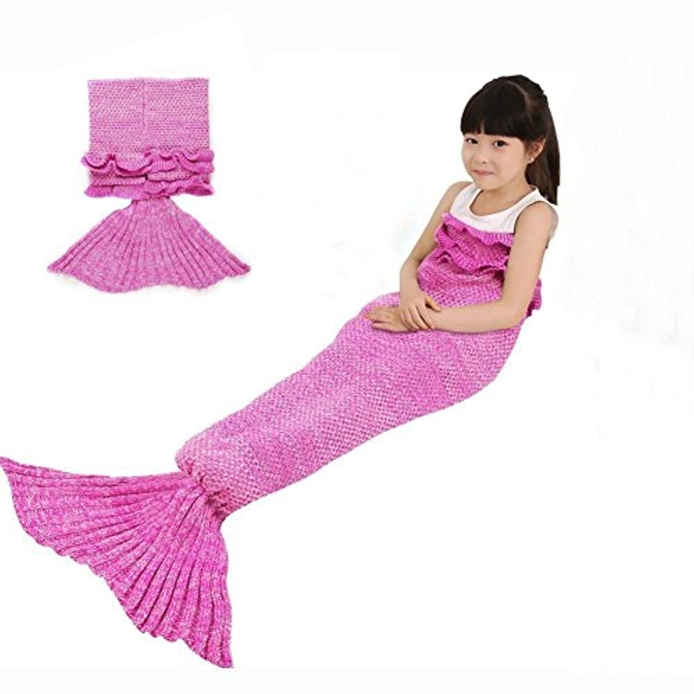 [ROSEER]ROSEER Handmade Knitted Mermaid Tail Blanket Crochet and Mermaid Blanket for Kids, Super Soft All Seasons [並行輸入品]