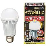 アイリスオーヤマ LED電球 口金直径26mm 50W形相当 電球色 下方向タイプ 人感センサー エコハイルクス LDA8LHS1 -