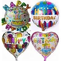 巨大風船 4種類セット 誕生日 ハッピーバースデーパーティー飾り用ハンドポンプ付 (空気入れ)(並行輸入品)