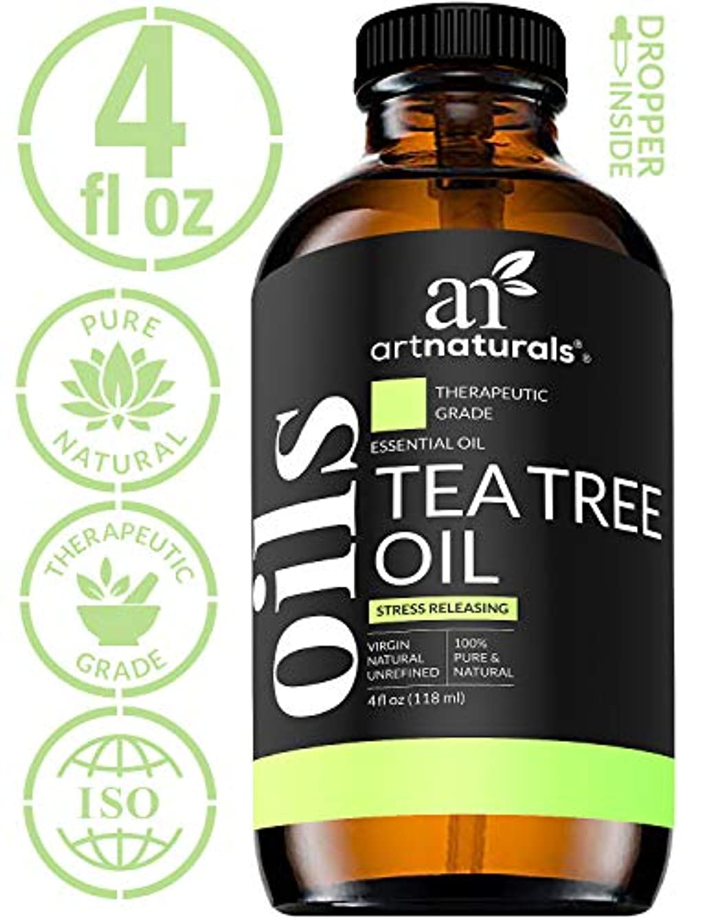官僚なめらかアラームArtNaturals Tea Tree Essential Oil - 4 oz Pure and Natural Premium Melaleuca Therapeutic Grade