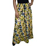 Womens Maxi Summer Skirt Yellow Floral Printed Rayon Long Skirts Large